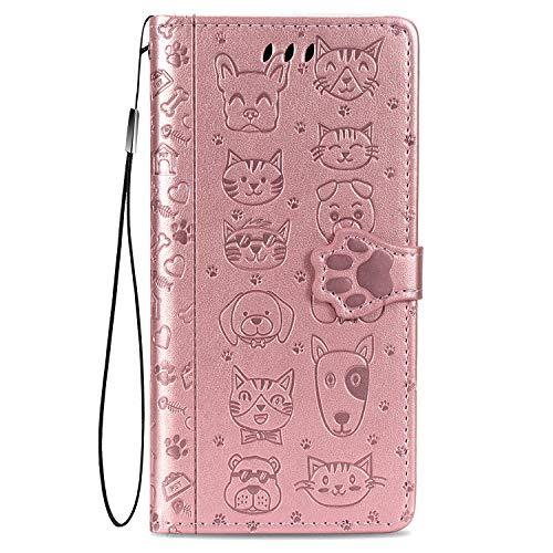 Fertuo Hülle für Redmi Note 9, Handyhülle Leder Flip Hülle Tasche mit Kartenfach, Magnet & Standfunktion [Katze H& Muster] Schutzhülle Cover für Xiaomi Redmi Note 9, Rosegold