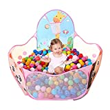 LOJETON Kids Ball Pit Pop Up Children Play Tent, Toddler Ball Animal Pool Baby Crawl Playpen with Basketball Hoop and Zipper Storage Bag - Balls Not Included