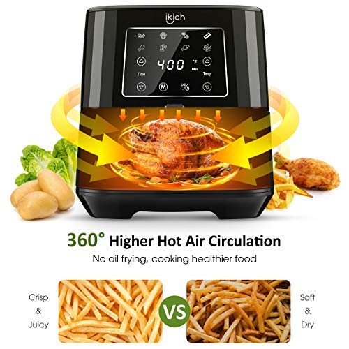 IKICH Air Fryer 6 QT Large Air Fryer XL Stainless Steel Air Fryers Oven, 1700W Power Air Fryer,...