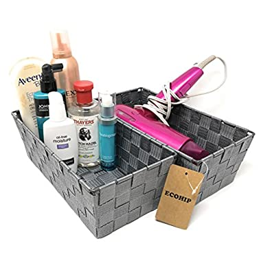 ECOHIP 2-Pack Grey Woven Strap Baskets Storage Bins, CD DVD Case Holder, Cabinet Bathroom Mail Makeup Desk Office Supply Organizer Decorative Cubes Baskets