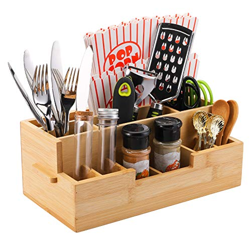 Yarlung Bamboo Utensil Holder Silverware Caddy Kitchen Counter Organizer Drawer Tray with 10 Compartments for Condiments Flatware Cutlery Napkins Spoons Knives Forks