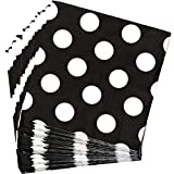 Kicko Black with White Polka Dots Paper Napkins - 64 Pack - 6.25 x 6.25 Inch - Disposable Dinner Accessories - Tableware for Party Favors, Holidays, Offices, Birthdays, Outdoor Activities and More