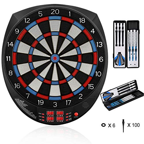 "Biange Electronic Dart Board, 15.5"" Regulation Sized Digital Soft Tip Dartboards Set 27 Games, 243 Variants with 6 18g Darts, 100 Tips, Support up to 16 Players"
