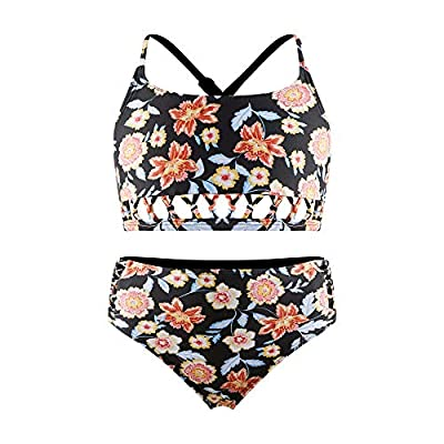 Amazon - Save 15%: Girls Hollow Bikini Floral Bathing Suits, Kids Tankini Swimsuit with Cross Criss…