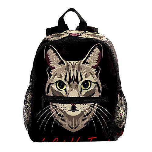 Hand gezeichnete Katze Rucksack süße 12-Zoll-Mini-Pack-Tasche für Kinder Jungen oder Mädchen Schultasche und Frauen Tagesrucksack 25.4x10x30cm