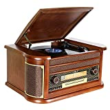 DLITIME Record Player con Am&FM Radio/USB/RCA/AUX/Control Remoto/CD/Reproductor de casetes/Placa Giratoria de Vinilo Bluetooth