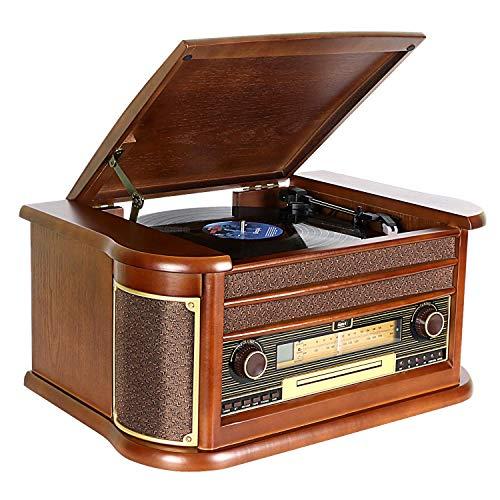 Giradischi DLITIME con Radio AM&FM/USB/RCA/AUX/Telecomando/Lettore CD/Cassette/Giradischi in Vinile Bluetooth