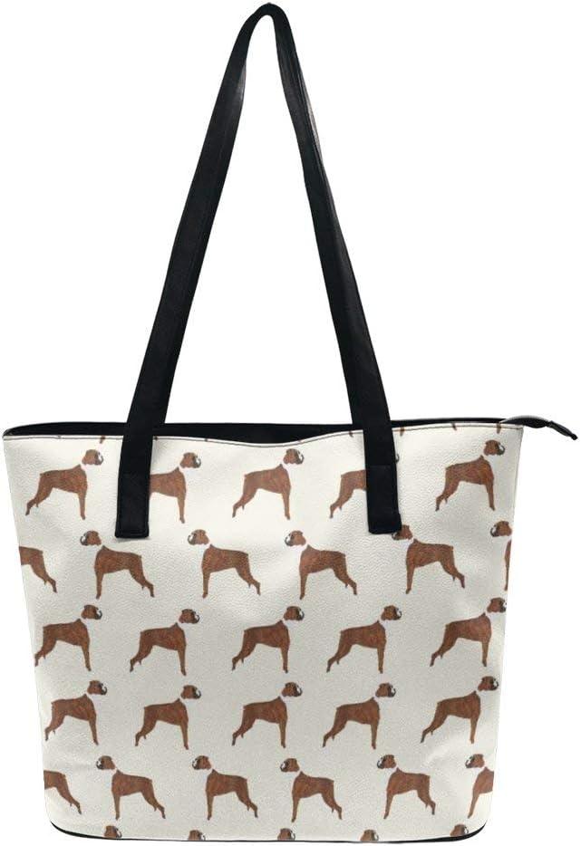 NiYoung Fashion Tote Handbag for Women Girls Teens Boxer Dog Lover Pet Pattern Handle Bag Lightweight Durable PU Leather Waterproof Anti-Theft Zipper Closure Shoulder Bag