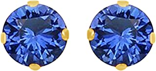 Round Cut Simulated Blue Sapphire 3mm Solitaire Stud Earrings In 14K Gold Over Sterling Silver