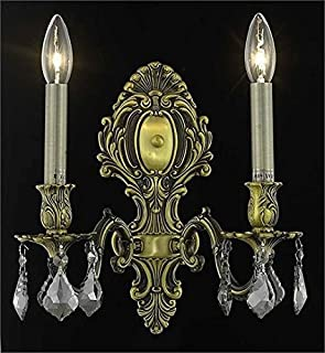Sage Antique Bronze Traditional 2-Light Wall Sconce Heirloom Handcut Crystal in Silver Shade (Grey)-8162W10AB-SS-RC--10