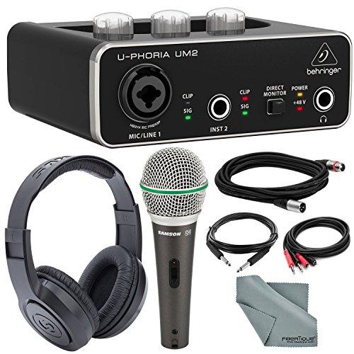 Behringer U-PHORIA UM2 2x2 USB Audio Interface and Deluxe Bundle w/Samson Q6 Mic + Headphones + Xpix 1/4' TRS Cable + 2RCA Male Cable + Fibertique