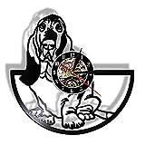 Basset Hound Canine Pet Grooming Schallplatte Wanduhr Geschenk für Hundeliebhaber Handgemachte Welpen Wandkunst Uhr Dekor Tiere Design-Mit