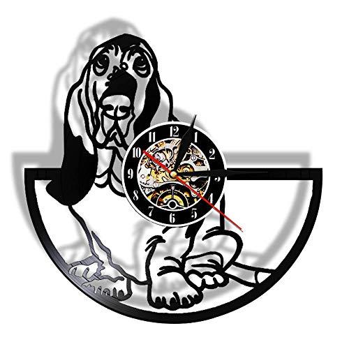 Basset Hound Canine Pet Grooming Reloj de Pared con Registro de Vinilo...