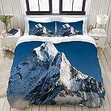 Funda nórdica, hermosa vista del monte AMA Dablam - Camino al campamento base del Everest - Nepal, juego de ropa de cama Juegos de fundas de edredón de poliéster ultra cómodo y ligero de lujo (3 pieza
