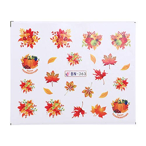 BESTOYARD Thanksgiving Theme Nail Stickers 3D Nail Art Tattoo Decals DIY Nail Art Decoration Self-Adhesive Tip Stickers for Women Girls 10 Sheets