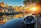 Amsterdam Stadt Kanal Boote XXL Wandbild Kunstdruck Foto