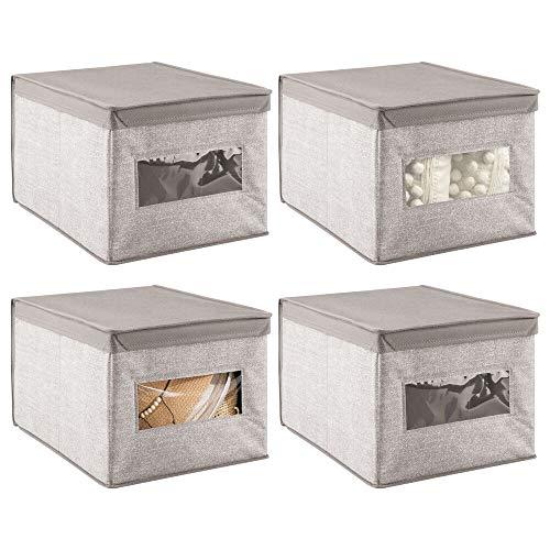 mDesign - Caja organizadora apilable de tela suave con ventana transparente, tapa con bisagras, para dormitorio, pasillo, entrada, armario, baño, impresión con textura, grande, 4 unidades, lin