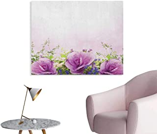 Anzhutwelve Flower Wall Paper Spring Cabbage Flowers in Fragrant Bouquet with Partially Shaded Color Romance Art Poster Lavender Green W36 xL32