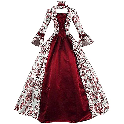 Junmei Vestido de baile rococó victoriano para mujer con falda de aro Renacimiento Medieval Gótico Vintage Siglo XVIII Disfraz Uniforme de fiesta de Halloween