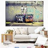 ganlanshu Pintura sin Marco La Vida del Graffiti del Arte Pop es efímera decoración Mural de Pato frío para Dos niñosCGQ7520 30X45cm