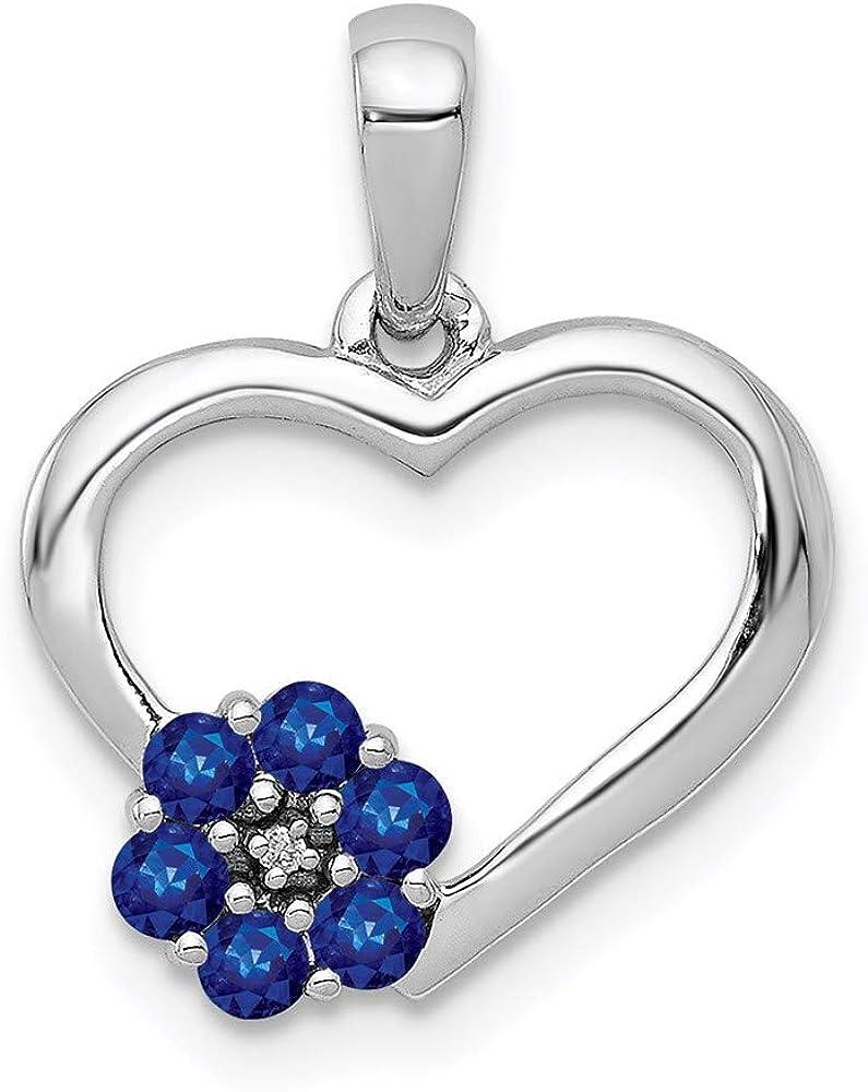 Fresno Mall Charm Pendant 14K Over item handling ☆ White Gold Diamond Round Sapphire Blue