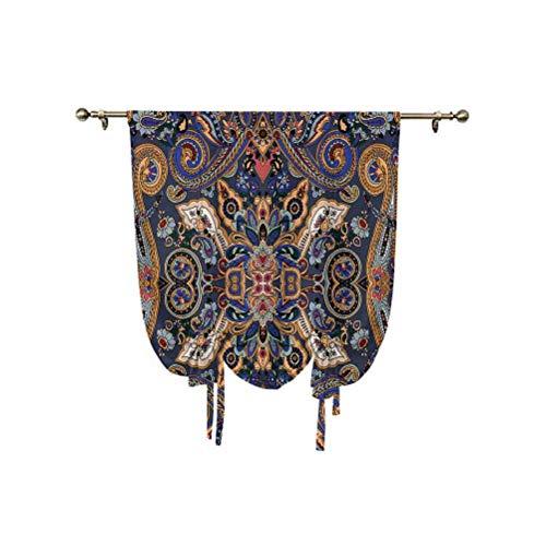Cortina de ventana con diseño de cachemira, con diseño histórico de flores marroquíes con efectos eslavos, con aislamiento térmico, 81 x 107 cm, para ventanas del hogar, azul real y marrón arena.