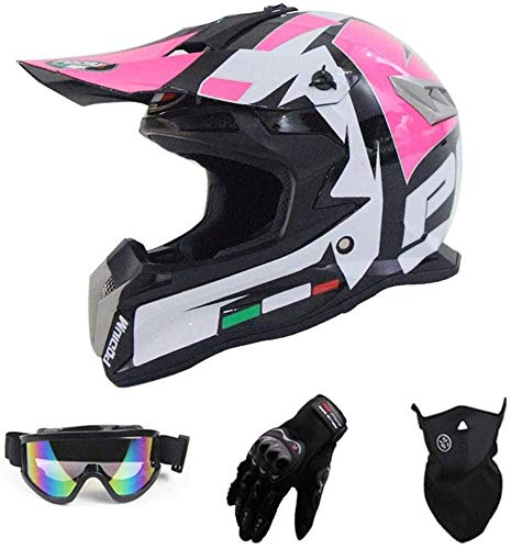 HengYue Casco De Motocross para Adultos (Juego De 4) Casco De Moto Convertible Casco Anticolisión ATV Youth Extreme Sports,L