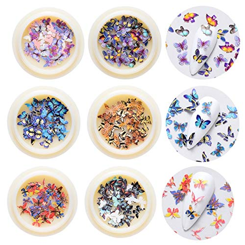 Nail Sticker Nail Simulation Nail decorative applique sequins butterfly charm forest series flower accessories nail designs Nail drill (Color : Mix 4)