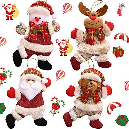 BAIBEI 4 Pezzi Babbo Natale Natale Ornamento Camino Arredamento Decorazione Figurine di Natale Peluche(Babbo Natale)