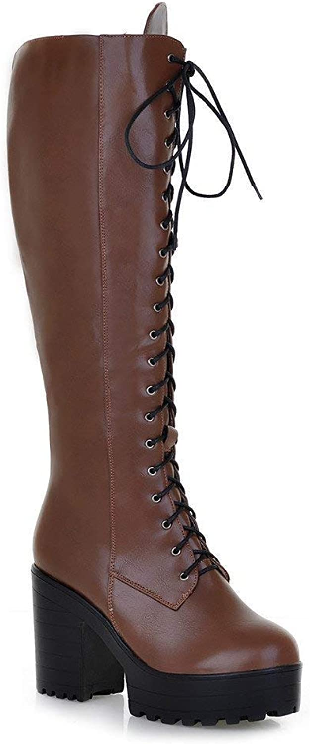 A-LING Womens Knee High Boots Outdoor Chunky High Heel Platform Wide Calf Lace Riding Boots Waterproof