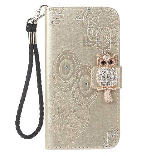 Bear Village® LG K7 / K8 Hülle, Brieftasche Leder Schutzhülle mit Kartenfach, Eule Magnet Verschluss Klapp Ständer Hülle für LG K7 / K8, Gold