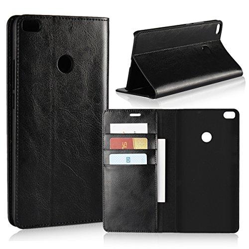Copmob Hülle Xiaomi Mi Max 2,Premium Flip Brieftasche Leder Schutzhülle,[3 Kartensteckplätze][Bracket-Funktion][Stoßfestes TPU],Ledertasche Handyhülle für Xiaomi Mi Max 2 - Schwarz