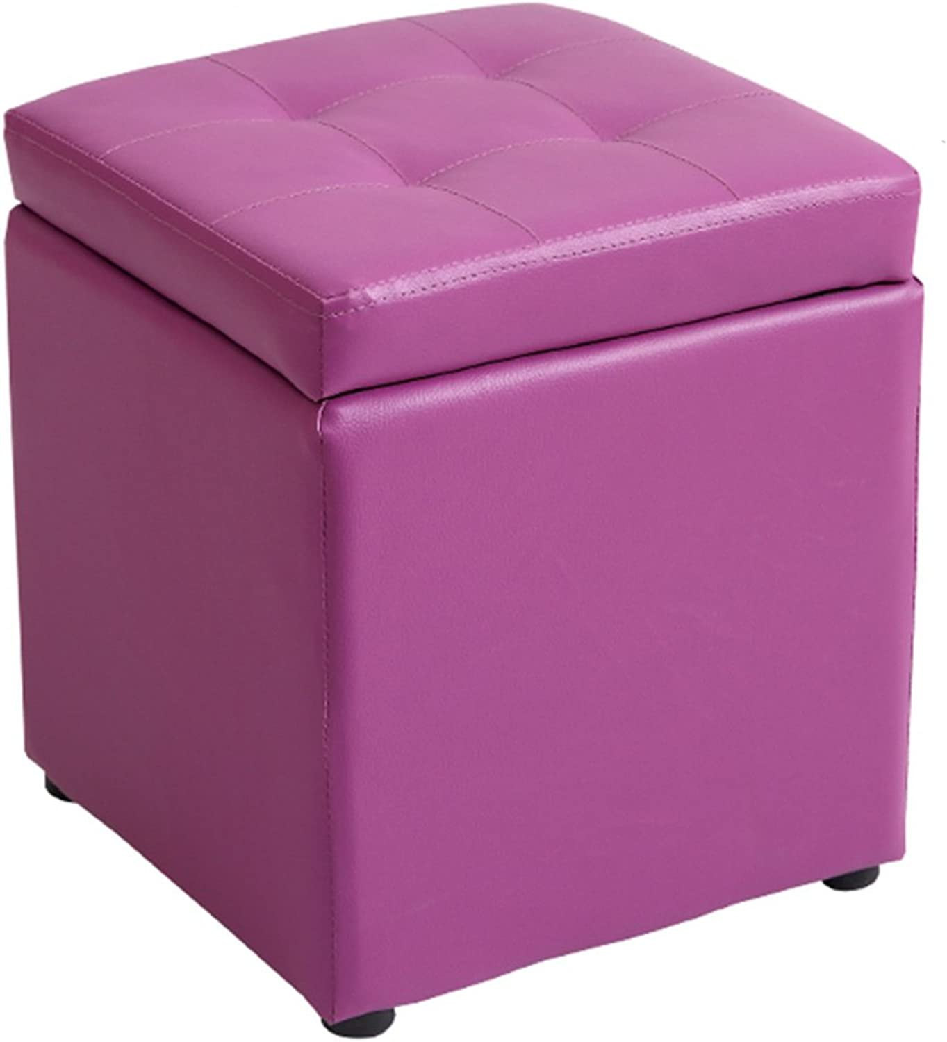 Byx- Solid Wood Fitting Room Non-Slip Storage Stool shoes Bench Foyer Stool Living Room Bedroom -Footstool with Storage (color   Purple)