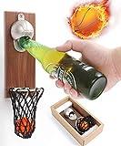 Apribottiglie da parete con collettore di cappello, in legno di noce, decorazione creativa per bar, casa e terrazza, regalo per gli amanti della birra (pallacanestro)