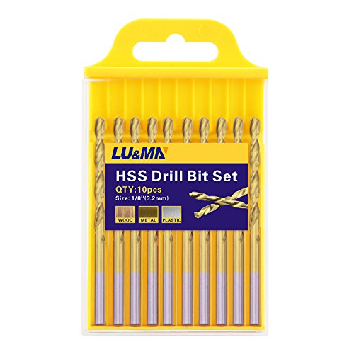 "1/8"" Titanium Coated Twist Drill Bit Set, High Speed Steel Jobber Length Drill, Split Point, 10PCS (For Wood, Plastic and Metal)"
