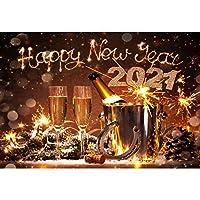 Laeacco 7x5フィート ビニールバックドロップ 大晦日 写真背景 2021 Happy New Year シャンパンボトル バケツ 蹄鉄 幸運のお祭り 背景 ボケ 雪の結晶 ホリデー