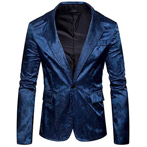 Slim Fit Schnitt Herren Design Paisley Muster Stilvoll Einfacher Stil Sakko Smokingjacke Abschlussball Hochzeit Hochzeitsanzug Smoking Nner (Color : Schwarzblau, Size : 2XL)