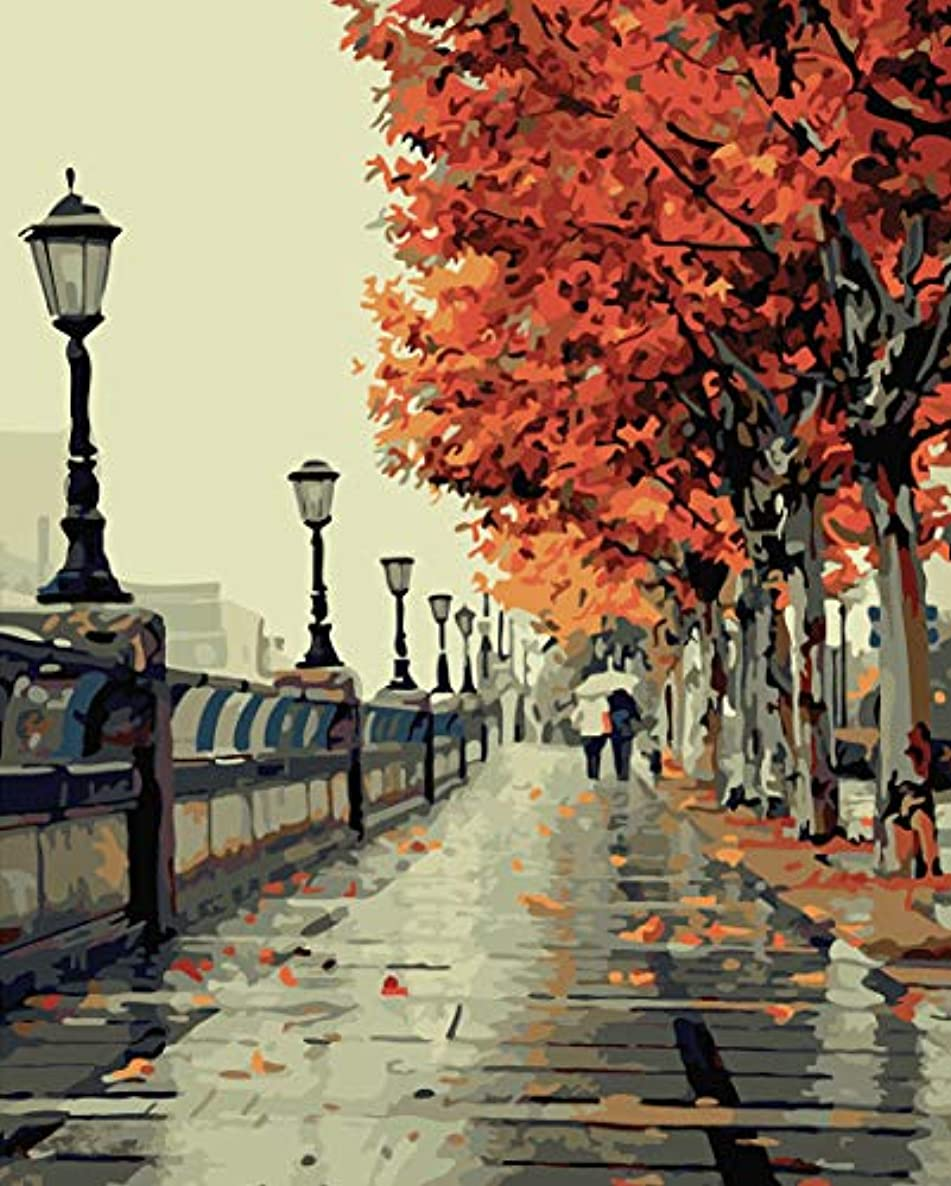 SHUAXIN Paintworks Paint by Number Kit for Adults Kids Beginner, DIY Canvas Painting by Numbers for Home Decoration, Romantic Autumn Love 16x20 inch