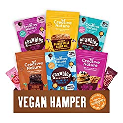 Vegan Hamper: Our gift box contains 3 delicious baking mixes, a Pancake and Waffle Mix, 2 Gnawbles Share bags, THE PERFECT GIFT FOR ANYONE- Our Hamper is perfect as a gift for birthdays, as a working from home care package or as a delicious healthy t...