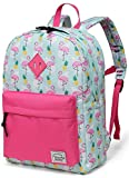 Preschool Girls Backpack,VASCHY Little Girls Backpacks for Toddler with Chest Strap Cute Pineapple Flamingos