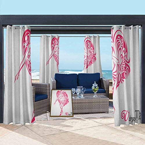 ParadiseDecor Zodiac Virgo Thermal Insulated Curtain for Pergola/Sunroom The Virgin of The Zodiac Illustration with Abstract Angel Wings Mystical Pink Pale Grey 118W x 95L Inch
