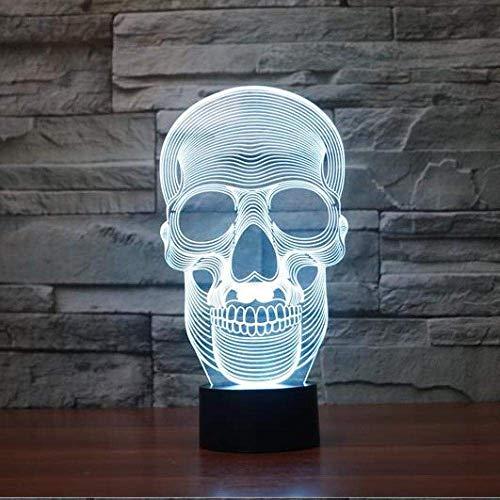 Luz de noche de ilusión 3D, visión LED de 7 colores, interruptor de acrílico de calavera esqueleto, escritorio de dormitorio, regalo creativo colorido, Control remoto