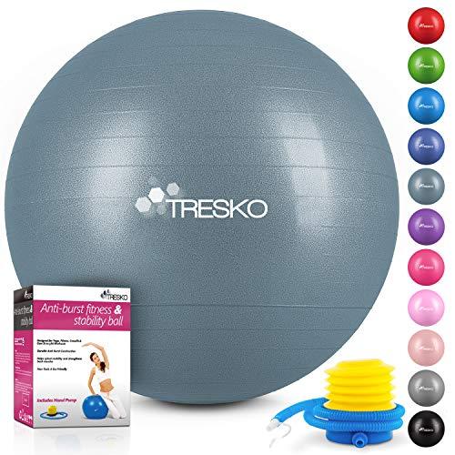 TRESKO Anti-Burst Gymnastikball 55cm 65cm 75cm 85cm | Sitzball | Yogaball | 300 kg | mit Luftpumpe (Cool-Grey-Blue, 65cm (für Körpergröße 155-175cm))