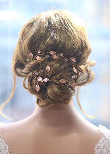Gracewedding Brautschmuck / Haarschmuck für die Hochzeit, Rotgold, geeignet für lange Haare, Design: Kletterpflanzen im Vintage-Stil, Kristall-Haar-Zubehör