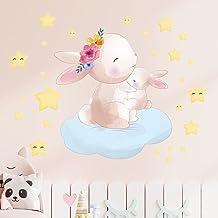 HUIJK sovrum dekorativ kanin stjärna gummi självhäftande väggklistermärke barnrum sovrum kreativ tapet PVC dekorativ tapet...