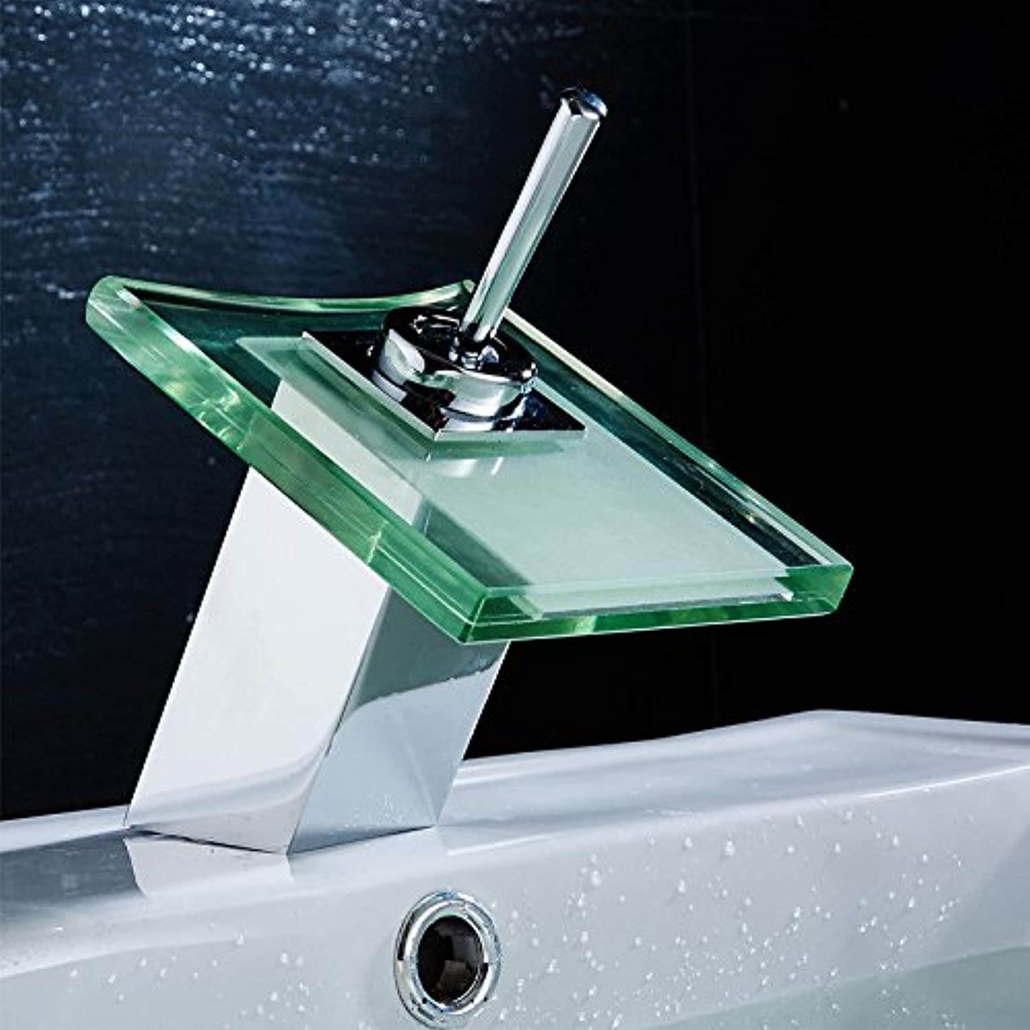 Lalaky Taps Faucet Kitchen Mixer Sink Waterfall Bathroom Mixer Basin Mixer Tap for Kitchen Bathroom and Washroom Waterfall Square Hot and Cold Copper Glass Single Hole
