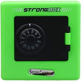 Fan-Ling Money Coin Saving Storage Box, Cash Safe Case, Piggy Bank with Combination Lock, Money Storage Box,Unique Gifts for Kids Boys Girls and Adults,8.8x8.8x6cm (Green)