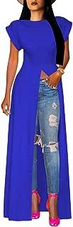 Blansdi Women Sexy High Front Split Tops Maxi Dress Short Sleeve Crewneck Club Long Shirt Dresses Blouse