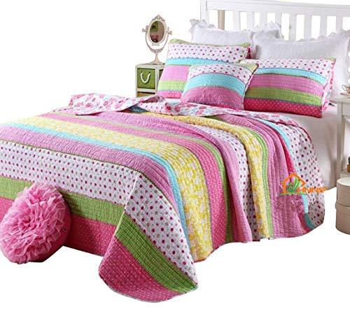 HNNSI Cotton Kids Girls Bedspread Quilt Sets Queen Size 3 Pieces, Pink Dot Striped Comfy Girls Comforter Pretty Girls Bedding Sets