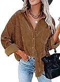 Camisetas de la Cordura for Mujer con Cuello en V botón de Manga Larga túnica de Manga Larga Tops for Mujeres con Blusa de Bolsillo Casual Roll Up Up Up Duffed Tops (Color : Camel, Size : S)